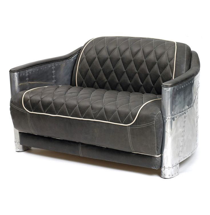 Hipster Riveted Metal Aviator Tufted Leather Sofa Chair #kathykuohome  #IndustrialLoft #style