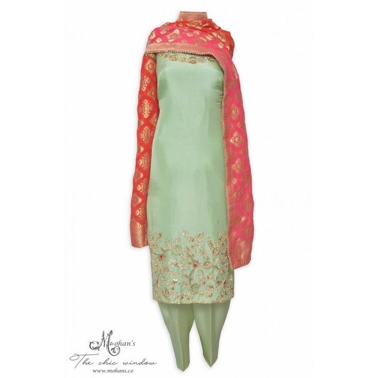 Attractive pistachio green unstitched suit adorn in hand work