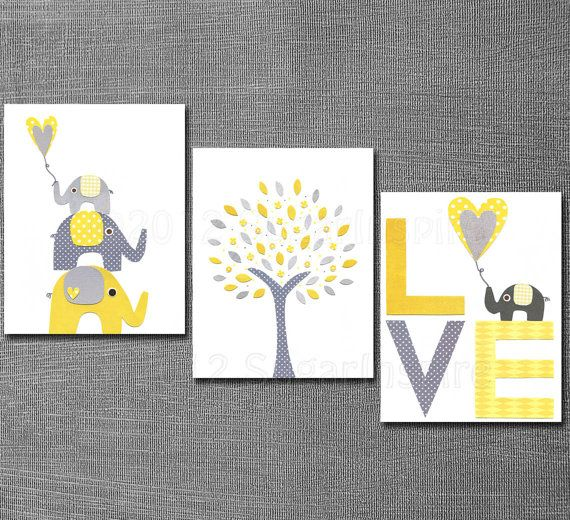 Elephant Nursery Art- triple panel idea, yellow/gray scheme