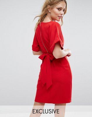Closet Kimono Sleeve Midi Dress With Tie Back Detail And Split Front
