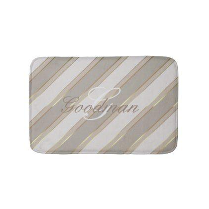 #Bath Mat neutral grays faux gold stirpes monogram - #Bathroom #Accessories #home #living