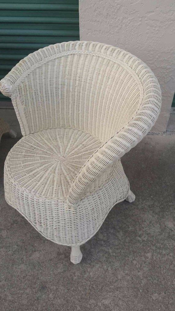 Asymmetrical Wicker Chair Beach Cottage Peacock Rattan