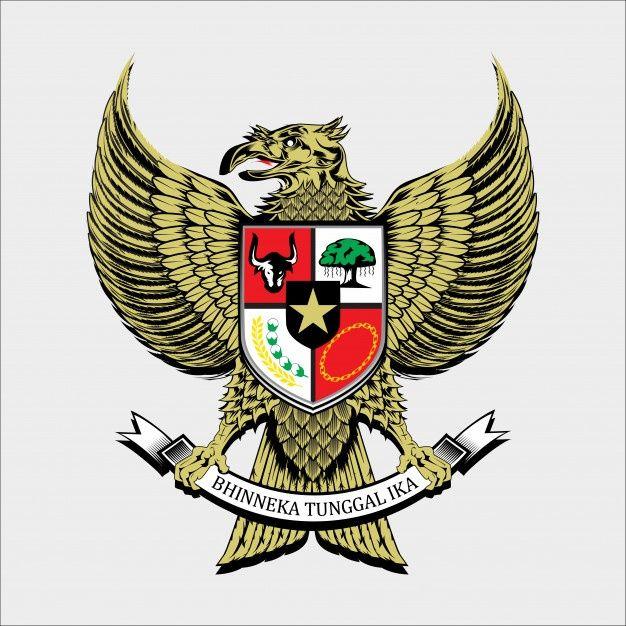 Indonesia National Emblem National Emblem Garuda Pancasila Engraving Illustration