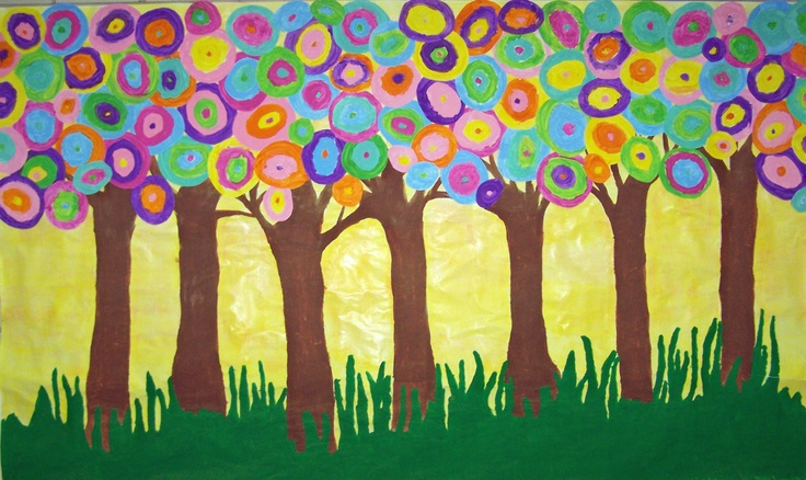 Lollipop trees kindergarten classroom mural art projects for Educational mural
