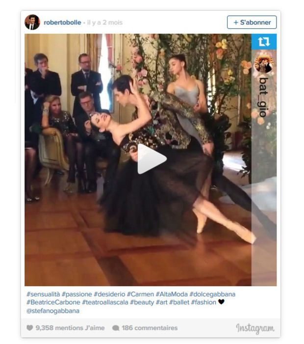 Roberto Bolle dansant au show Alta Moda de Dolce & Gabbana