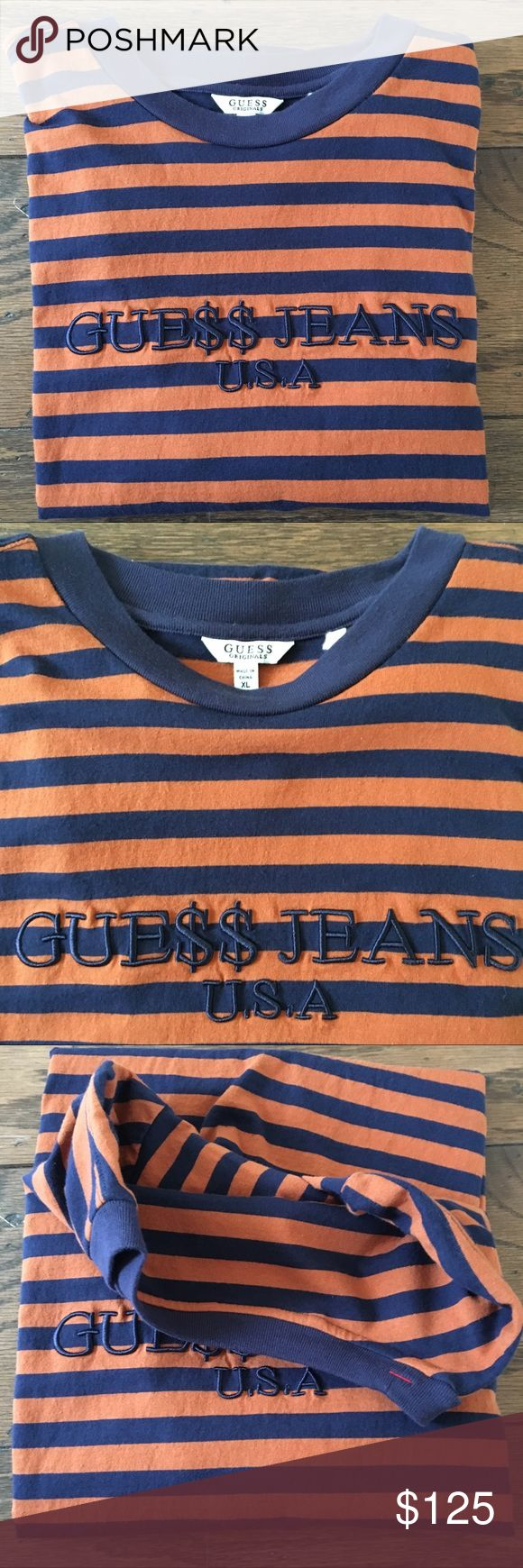 Guess x Asap Rocky Orange/Navy Tee XL Guess x Asap Rocky  Striped Tee Shirt In The Orange/Navy colorway!  Condition: 9/10. No flaws. Just the embroidery is a little worn. Look at the picture before purchasing.  Size: XL. Fits slightly oversized  Ships via USPS 1-3 day Priority Mail. Items are shipped the same or next business day. Guess Shirts Tees - Short Sleeve