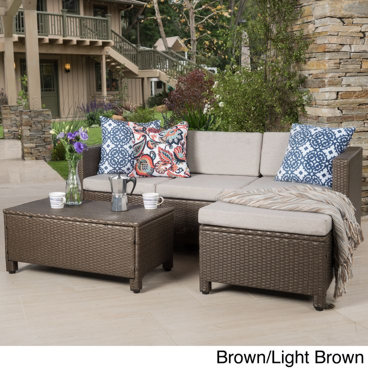 outdoor puerta 5 piece wicker l shaped sectional sofa set with cushions by christopher knight home brown with light brown patio furniture fabric