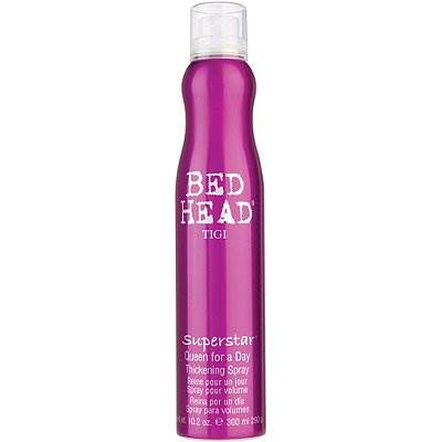 "Best drugstore hair products -  Tigi Bed Head Superstar Queen for a Day, $20: ""Great volumizier for fine hair or texture-enhancer for straight hair. [It's] a pro secret for building hair up."""