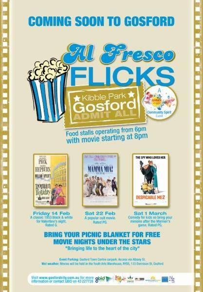 Feel the LOVE in Kibble Park, Gosford on Valentine's night with the romantic feature movie. http://www.visitcentralcoast.com.au/events/this-week/alfresco-flicks-kibble-park-gosford