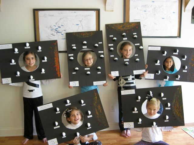 CC Cycle 2 Week 10 - Moon Phases Project.  Kid's heads become the Earth as they put them through the hole and spin the board around to see the phases of the moon!  Very cool and effective in teaching them how moon phases works!