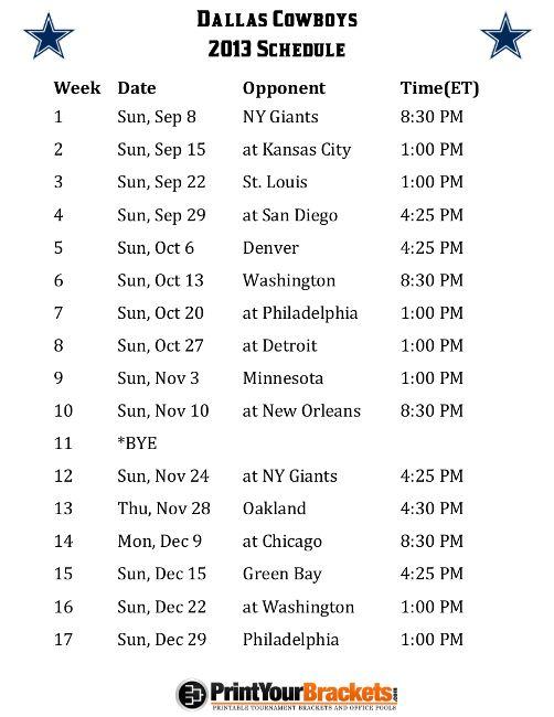Printable Dallas Cowboys Schedule - 2013 Football Season