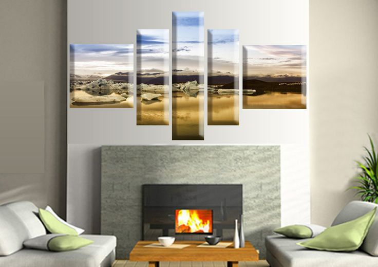 Tablouri Ice sunset 7246 Dimensiuni: 2x 40x40 - 2x 20x60 - 1x 20x80 cm Total: 140x80 cm