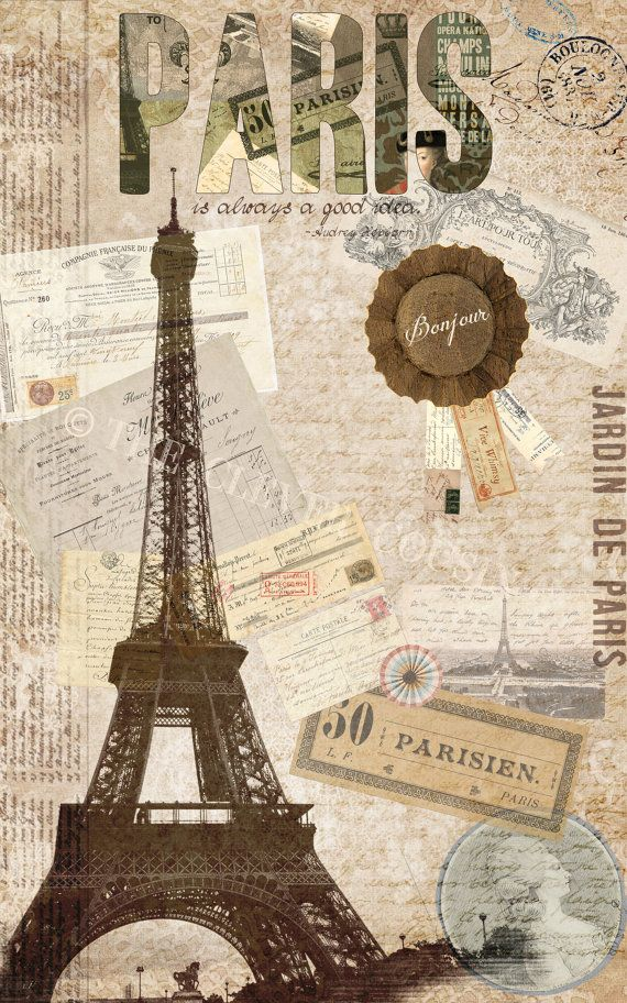 Paris is always a good idea- Digital Collage on Etsy