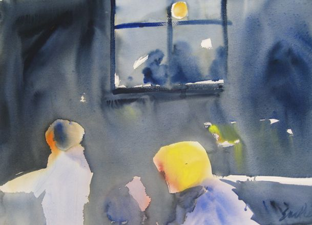 Cafe Collins Street watercolour on paper