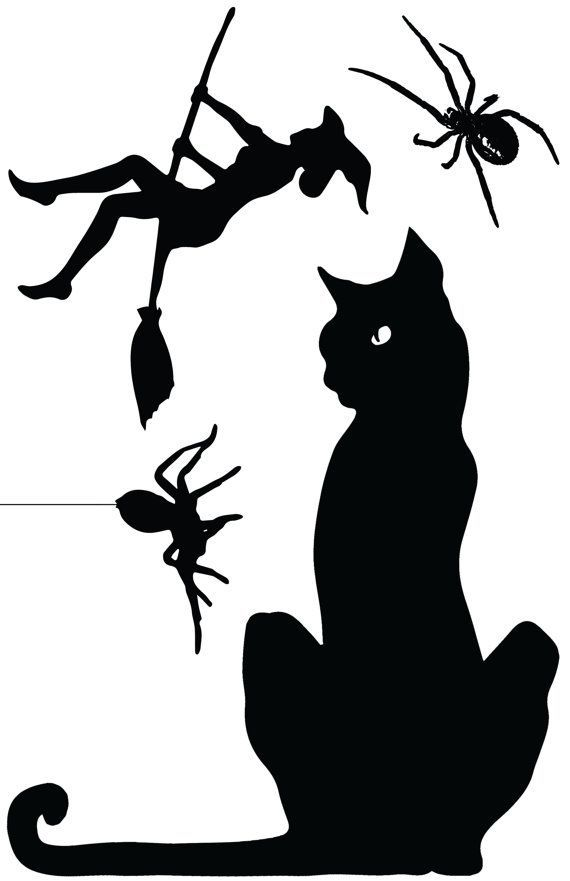 image result for silly halloween monster window silhouette