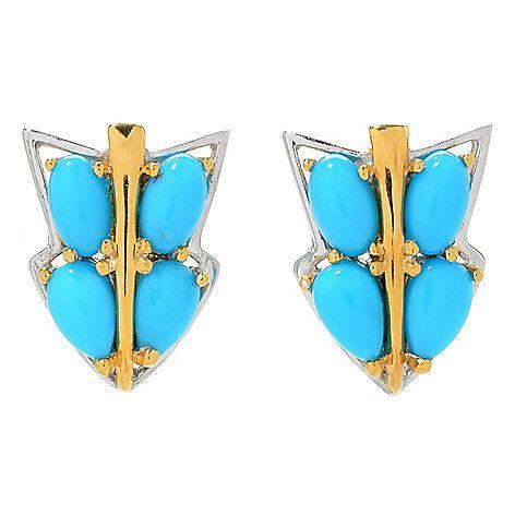 159-648 - Gems en Vogue Sleeping Beauty Turquoise Arrow Stud Earrings