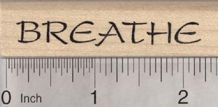 "Breathe Rubber Stamp, for Yoga or Meditation. Approximate Image Size: 3/8"" x 2 1/4"". This is a deeply etched, finely detailed rubber stamp mounted on high quality white maple wood block with hourglass sides. Manufactured in the United States of America with the highest quality materials and workmanship by RubberHedgehog Rubber Stamps. Please view our wide selection of similar rubber stamps!. Ink pad not included."