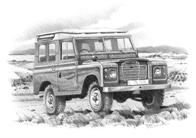 Land Rover - Personalised hand drawn car prints