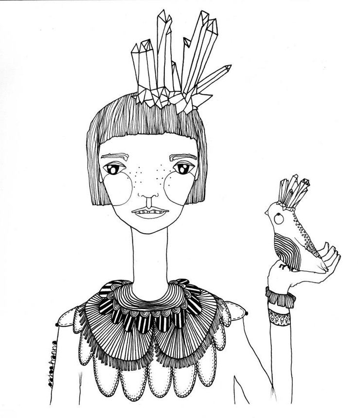 Postcard with printed illustration by Hanna Pajor. From the world of her imagination, with love, for you! http://caleidostore.com/designers/pajor-hanna/