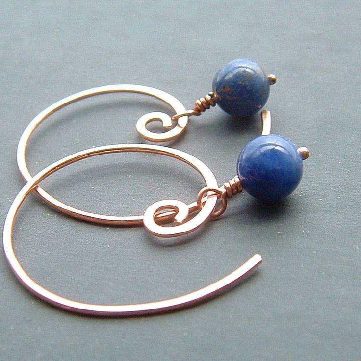 Hoepel bengelen oorbellen blauw sodaliet koperen Open hoepels