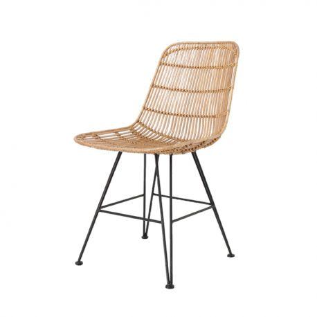 Chaise en rotin naturelle avec pieds en métal noir HK living - Design decoration…