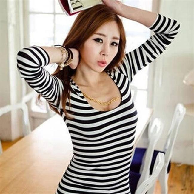 3c лето осень популярные полосатые футболки с длинным рукавом сексуальное черный белой полосой белой полосой майки топы женщин L купить на AliExpress