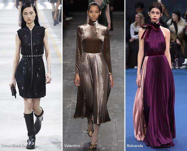 Плиссированные платья и юбки на подиуме