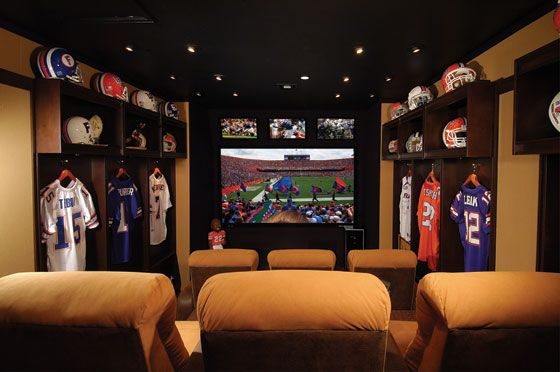 Pick your theme and let's run with it! The Ultimate Tampa Bay Buccaneer or  Florida Gators Fan Home Theater, Front of Theater - Electronic House Cool Home