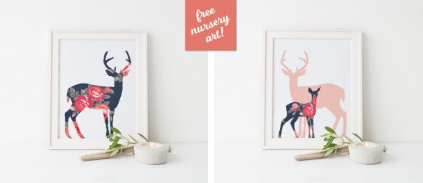 Free Floral Rustic Deer Woodland Print by Little Paper Sparrow!