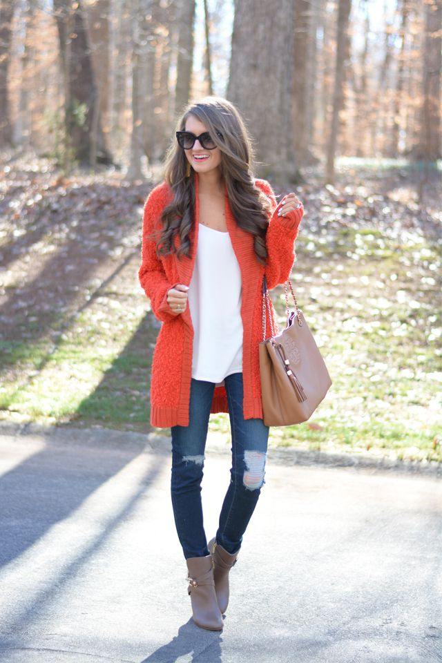 I love the bright cardigan & ripped jeans