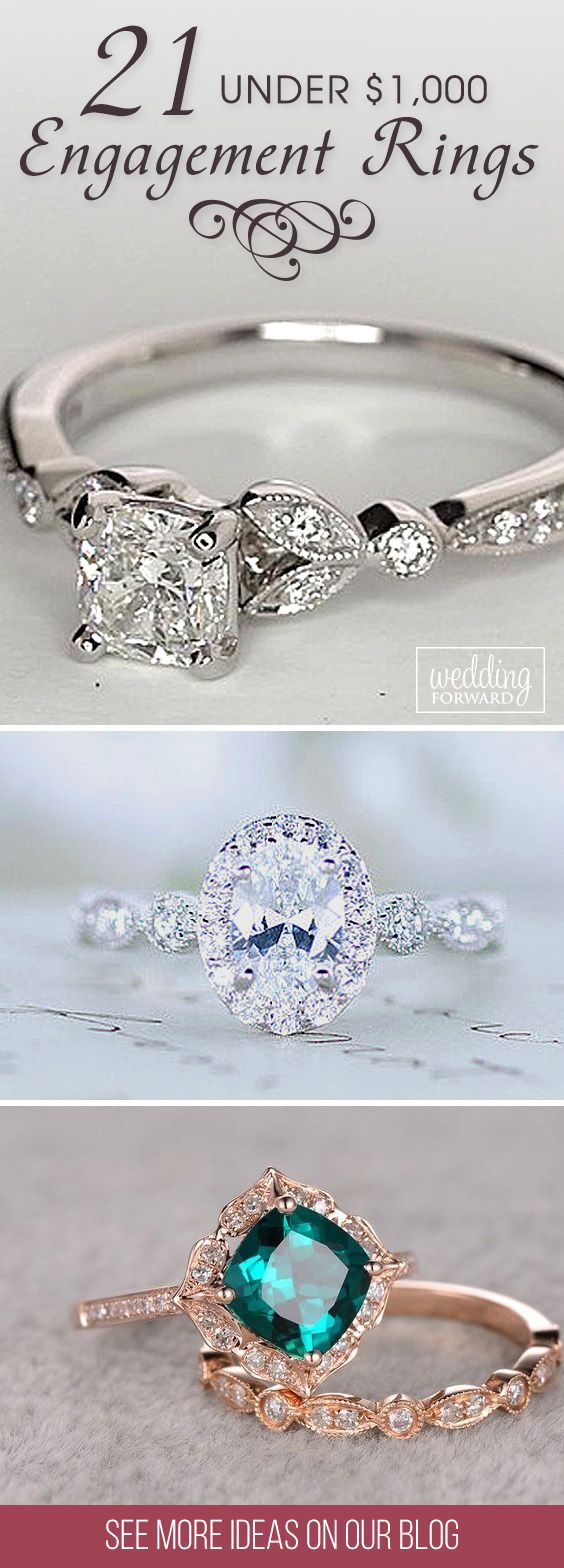 21 Budget-Friendly Engagement Rings Under $1,000 ❤ We gathered collection of cheap engagement rings with different settings, each ring is stunning and unique! See more: http://www.weddingforward.com/cheap-engagement-rings/ #wedding #engagement #rings