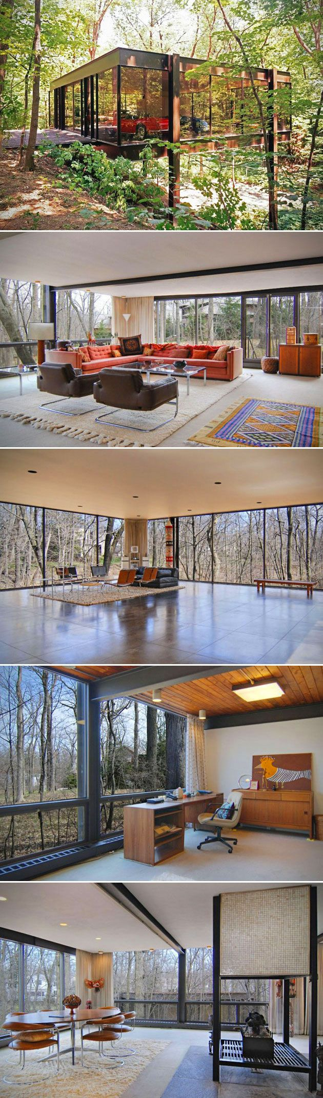 Even though it's been over 25 years since the 1986 release of the classic comedy Ferris Bueller's Day Off, we will never forget Cameron's badass glass house (the one where he accidentally knocked the Ferrari off the jack, sending it right into the ravine out back). The property is located in Highland Park, Illinois, and consists of 2 separate buildings (one of which being the iconic garage of course). The four bedroom, four bath home was originally designed by A. James Speye back in 1953…