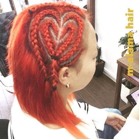 WEBSTA @ you____ - オレンジ×ハート♡・祭りの季節ですね〜✨かっこいい・#マーラマ#ヘアアレンジ#ヘアセット#ヘアカラー#マニックパニック#オレンジ#韓流#コーンロウ#編み込み#ハート編み込み#赤穂市#赤穂美容室#姫路#岡山#日生#相生#上郡#hair#hairarrange#hairstyle#haircolor#flowme