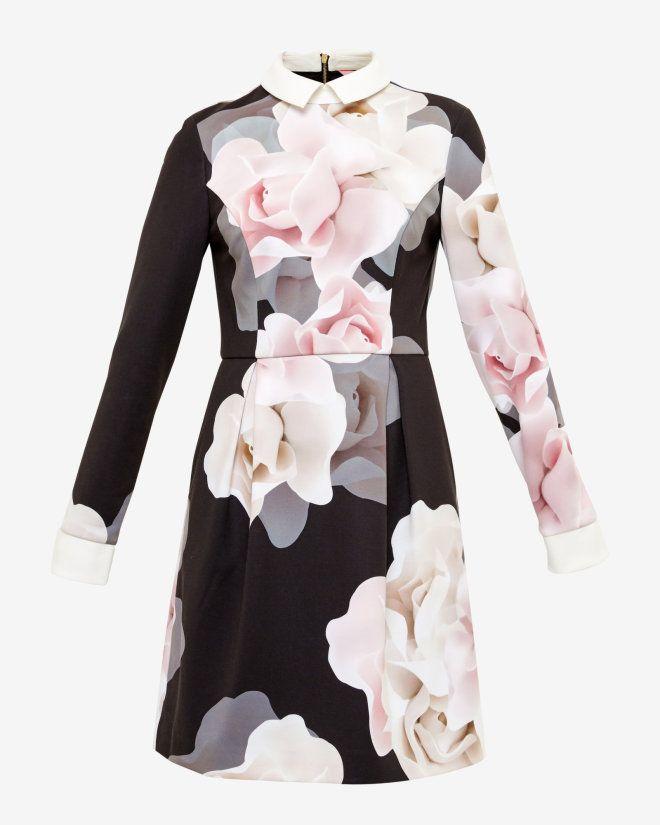 Porcelain Rose collared dress - Black | Dresses | Ted Baker UK