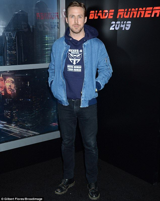Fashion gamble: Ryan Gosling donned double denim as he promoted Blade Runner 2049 at CinemaCon 2017 in Las Vegas on Monday