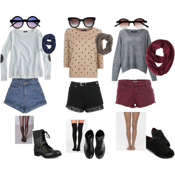 """""""Fall outfits with shorts!"""" by vas0an on Polyvore"""
