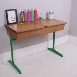 Children's Vintage Double School Desk with Green Legs | blueticking.co.uk | Original | Warehouse Home Design Magazine