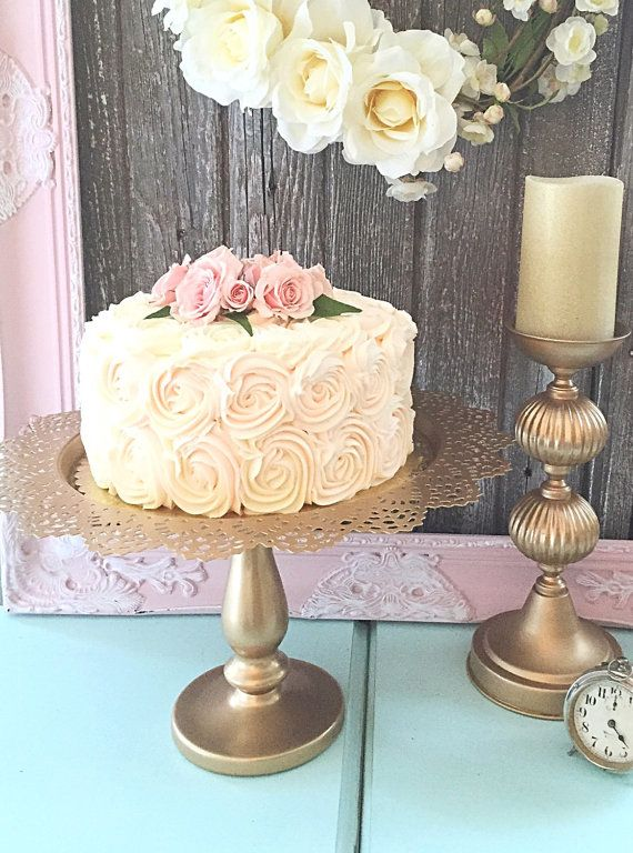 "Gold Wedding Cake Stand Pedestal Plate Dessert Holder Vintage Shabby Cottage Chic Style 15"" on Etsy, $124.99"