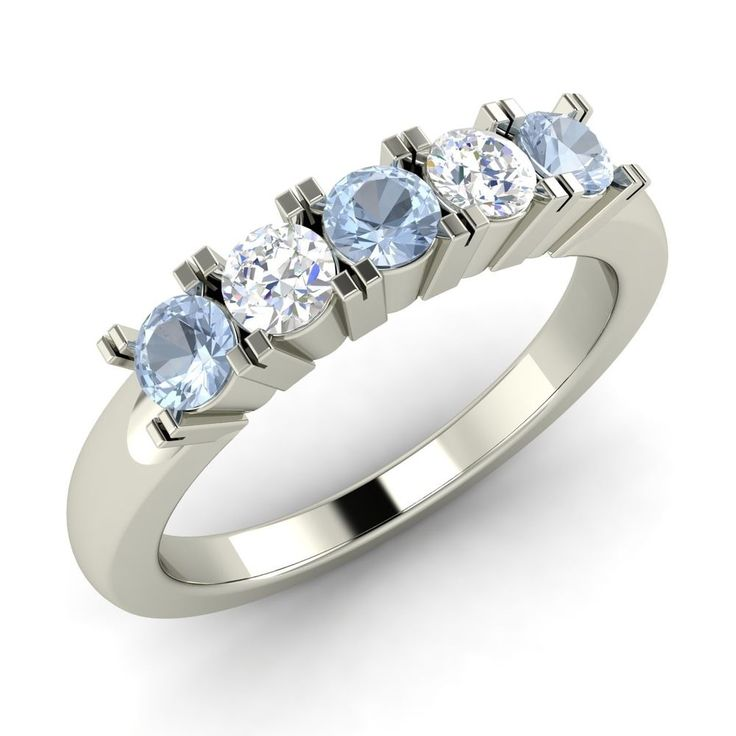 sapphire wedding anniversary invitations%0A      Ct Real SI Diamond  u     Natural Aquamarine Anniversary Ring in   k White  Gold  Diamondere  Sapphire WeddingDiamond