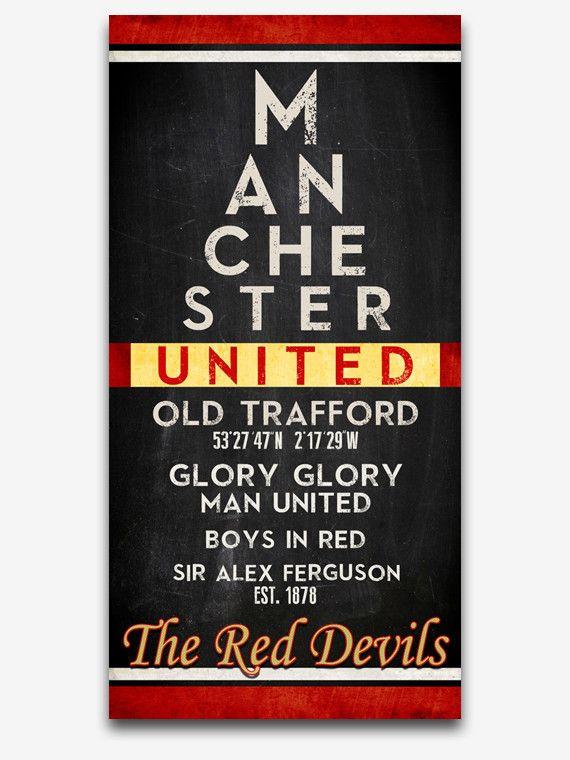 "Manchester United FC Football Club ""Eye Chart"" ART PRINT, Sports Wall Decor, man cave gift for him, Unframed"