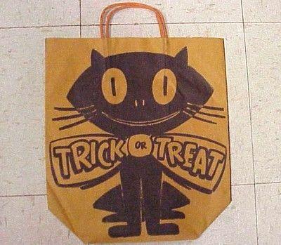 Vintage 1950s Halloween Trick or Treat Bag - Ghost - Black Cat - Store Premium | #443411050