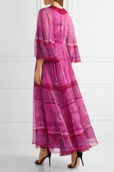 Valentino - Printed Silk-chiffon Maxi Dress - Fuchsia