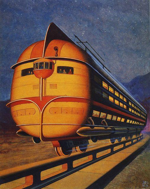 Concept Train / Monorail / Vintage Past / Retro Futurism / Future Past / Illustration /