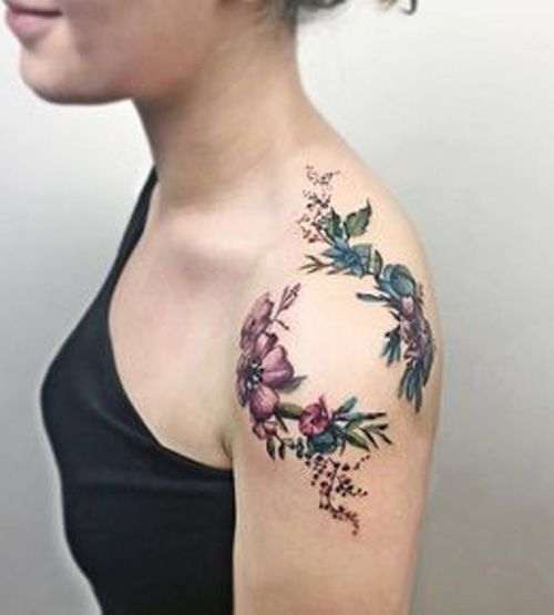 Cutest Beauty of Flower Shoulder Tattoos for Girls