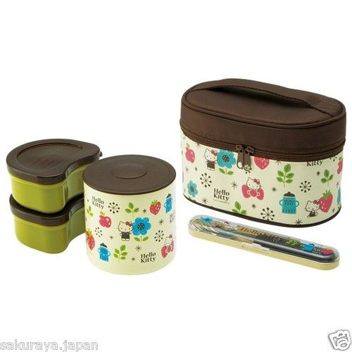 Hello Kitty Lunch Jar Thermos Japanese BENTO Box Fork Set Sanrio Japan Gift