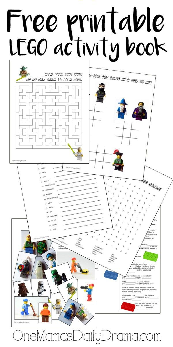 Free printable LEGO activity book | 6 pages of LEGO puzzles and games #LEGO #freeprintable