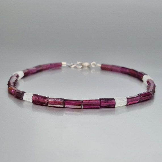 Bracelet Garnet and Moonstone with Sterling silver - gift idea - holiday season by gemorydesign. Explore more products on http://gemorydesign.etsy.com
