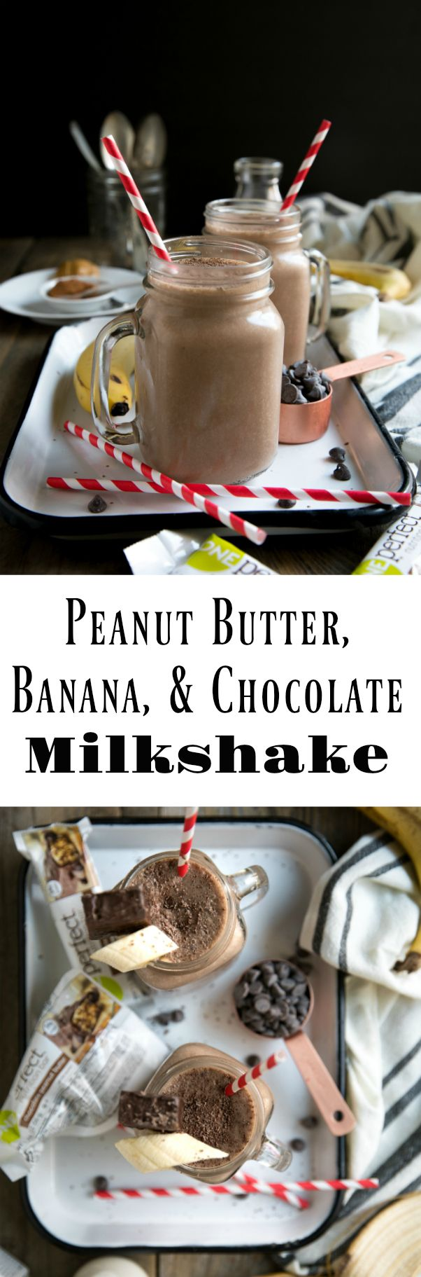Peanut Butter, Banana, and Chocolate ZonePerfect Nutrition Bar Milkshake #ad #milkshake #healthy #chocolate #smoothie #peanutbutter #breakfast