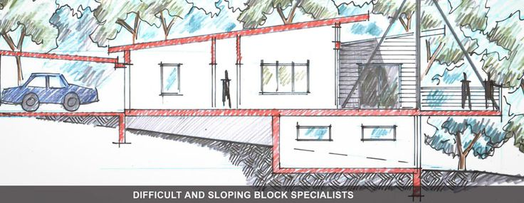 downward sloping block with raised house - Google Search