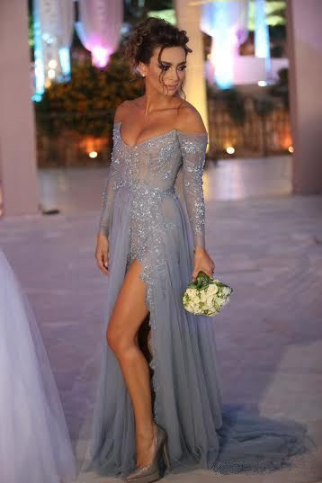Grey Tulle Sexy Evening Dress, Long Evening Dress With Side Slit, Deep V Neck Prom Dress, Cheap Even on Luulla